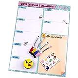 Organizer Settimanale Magnetico, 4 Pennarelli Colorati, 12 Calamite, 1 Gomma | Calendario Frigo...