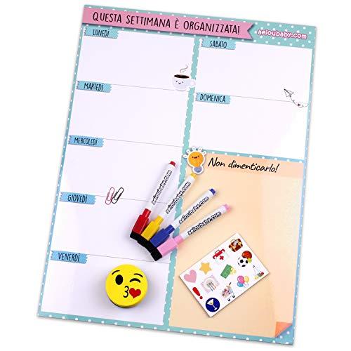 Organizer Settimanale Magnetico, 4 Pennarelli Colorati, 12 Calamite, 1 Gomma | Calendario Frigo Italiano 43x32cm Lavagna Cucina | Organizer Memo Lista della Spesa Menù | Scatola idee regalo