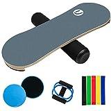 Balance Board Trainer - Wooden Roller Board for Surfing, Ski, Hockey, Snowboard and Skateboarding