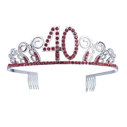 Frcolor Corona Cumpleaños 40 Años Diadema Cumpleaños Mujer Tiara Cristal con Peines (Plata Rojo)