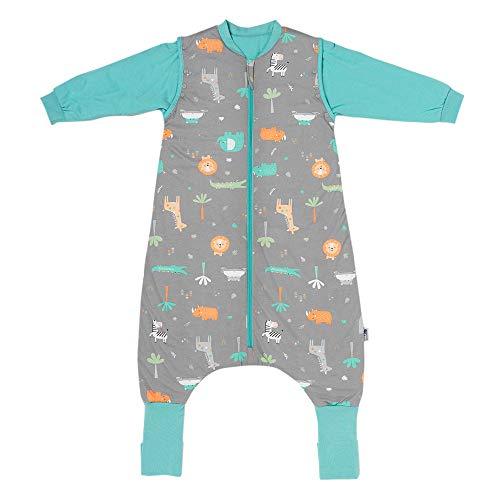 Schlummersack Schlafsack mit Füßen ganzjährig 2.5 Tog 100 cm Safari | Kinder Schlafsack mit Beinen und verlängerten Bündchen für eine Körpergröße 100-110cm | Ganzjahres Schlummersack mit Füßen 2.5 Tog
