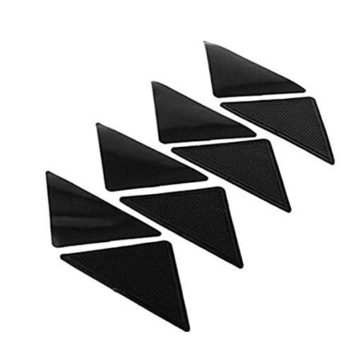 Panamami rutschfeste Teppichmatte, rutschfest, kleine Ecken, dreieckig, waschbar, entfernbar, starker Klebstoff, Schwarz