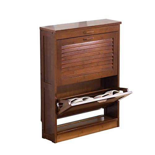 LLLKKK Zapatero muebles zapatero de bambú para pasillo, puertas de láminas, armario, zapatero, organizador de zapatos, resistente al polvo, estante de zapatos, en color marrón