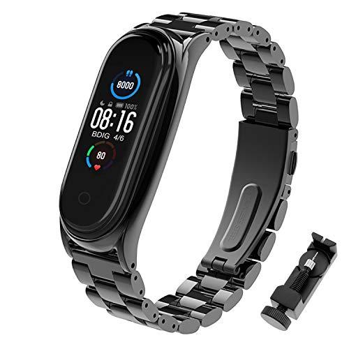 BDIG Kompatibel mit für Mi Band 5 Armband, MiBand 5 Ersatzband Wasserdicht Edelstahl Replacement Wrist Strap Armband Zubehör für Xiaomi Mi Band 5, Schwarz