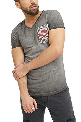 trueprodigy Casual Marca Camiseta para Hombre con impresión Estampada Ropa Retro Vintage Rock Vestir Moda Cuello v Manga Corta Slim fit Designer Fashion t-Shirt