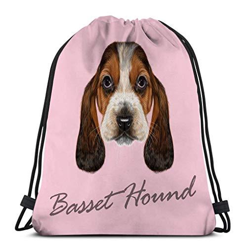 Mochila de Cuerdas Bolsa de Cuerda basset hound perro retrato ilustrado cachorro...