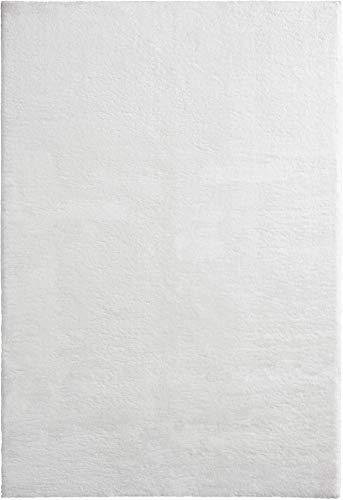 Mia´s Teppiche Bella Wohnzimmer Teppich, Weicher Hochflor 30mm, Kunstfell, 100% Polyester, Weiß, 80x150 cm
