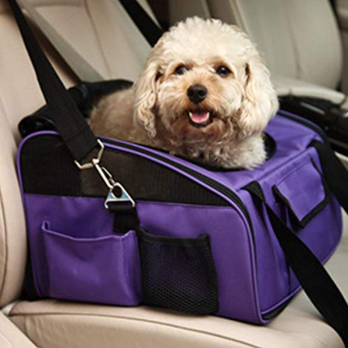 Asiento Coche Para Perros, Bolsa Transporte Plegable Para Perros Pequeños, Bolsa Transporte Con Correa Para El Transporte De Perros En Coche, Protector Viaje Para Perros Pequeños ( Color : Purple )