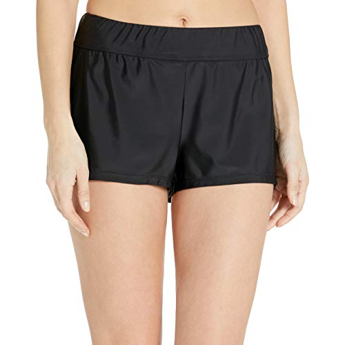 24th & Ocean Women's Elastic Band Swim Short Bikini Swimsuit Bottom, Black, Small