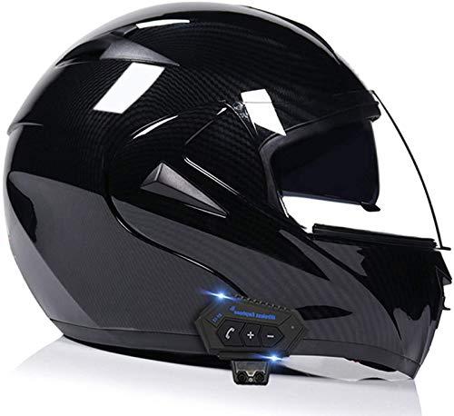 Cascos abatibles con Bluetooth para motocicleta Cascos abatible Cascos integrales Casco de motocicleta Casco para scooter Scooter Doble visera para mujeres Hombres Adultos Certificación ECE A,S