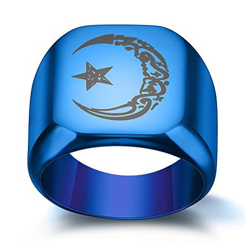 Anillo de sol de estrella lunar de acero de titanio para hombre, estilo retro, de cuatro colores, número 7, anillo azul para mujeres, niñas, hermanas, amigas, significativo regalo de joyería