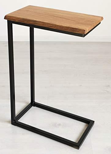 BestLoft® Beistelltisch San Jose Laptoptisch (Gestell schwarz+Platte hell MIT Baumkante)