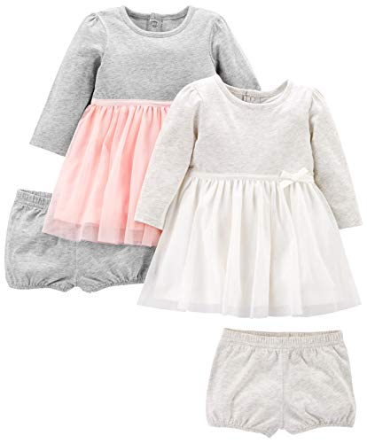 Simple Joys by Carter's Girls' 2-Pack Long-Sleeve Dress Set with Bloomers, Pink/Gray, 18 Months