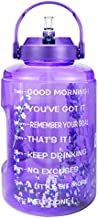 BuildLife 1 Gallon Water Bottle with Straw & Motivational Time Marker Large BPA Free Wide Mouth with Handle Reusable Leakproof to Drink More Water Daily (Lavender, 1 Gallon)