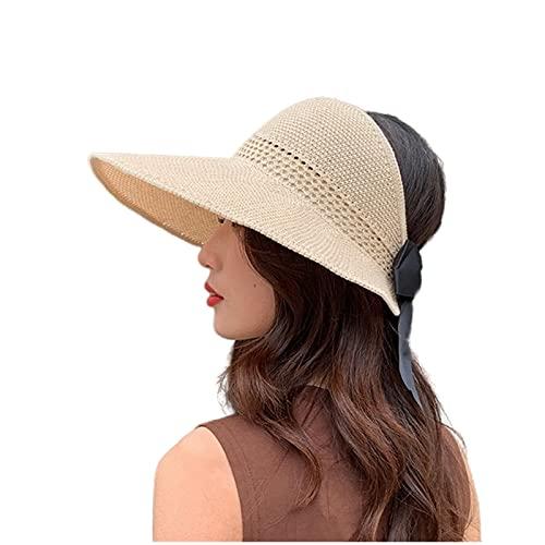 UKKD Sombrero De Copa Vacío Capa De Cucharón De Sombrero De Sol con Sombrero De Mujer Beige Encaje Bowknot Flower Cinta Plana-Stylea Beige,55-58Cm