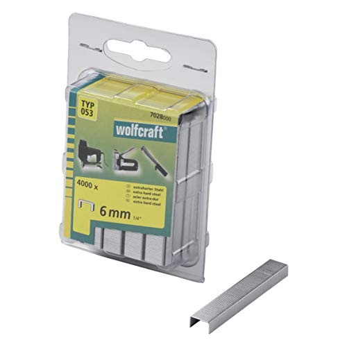 Wolfcraft 7028000 (L) grapas de lomo ancho, tipo 053 PACK 4000, 6mm,...