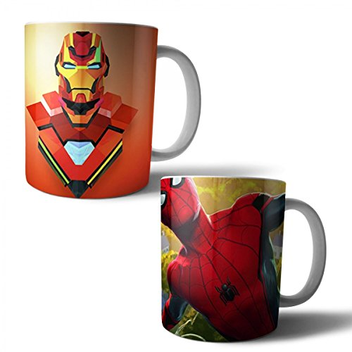 Jogo com 2 Canecas Porcelana The Avengers Os Vingadores Homem Aranha Spider-man Homem de Ferro Iron 350ml (BD01)