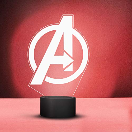lampada marvel YOURLIVINGART Lampada LED con simbolo dell'Avengers