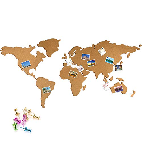 JUSTDOLIFE Cork Board Set World Map Pattern Etiqueta Autoadhesiva De Pared De Corcho Natural Adhesivo para Pared