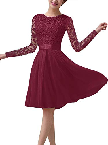 ZANZEA Vestido de Fiesta Encaje Manga Larga Mujer Tallas Grandes Elegant Vestido de Cóctel de Noche Cortos 02-Vino Rojo S