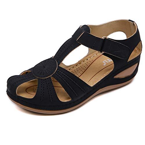 ZAPZEAL Sommerschuhe Sandalen Damen Flach Sandaletten Keilsandalen Flip Flop PU Leder Casual Durchbrochene Sandalen für Arbeit Wandern,Schwarz 38 EU