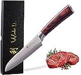 Wakoli EDIB Damastmesser kleines Santoku Messer 12cm Klinge extrem scharf aus 67 Lagen I Damast Küchenmesser und Profi Kochmesser aus echtem japanischen Damaststahl mit Pakkaholz Griff