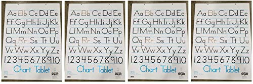 School Smart Chart Tablet, 24 x 32 Inches, 1-1/2 Inch Ruling, 1/2 Inch Skip Line, 25 Sheets, Cover may vary (Fоur Paсk)