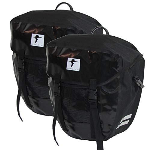 Red Loon 2X robuste Fahrradtasche aus LKW-Plane – wasserdichte Doppelpacktasche für Gepäckträger in schwarz
