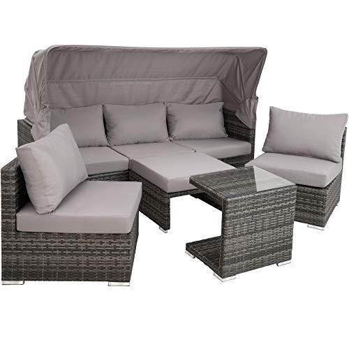TecTake 800771 Aluminium Poly Rattan Lounge Set, 16-teilig, wetterfest, Garten Sofa mit Sonnendach, Outdoor Sitzgruppe inkl. Kissen und Beistelltisch – Diverse Farben – (Grau | Nr. 403237) - 2