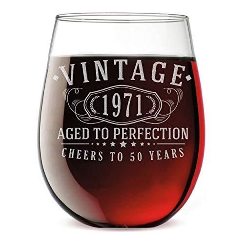 Weinglas ohne Stiel aus dem Jahr 1971, geätzt, 50. Geburtstag, gealtert bis zur Perfektion, 50 Jahre