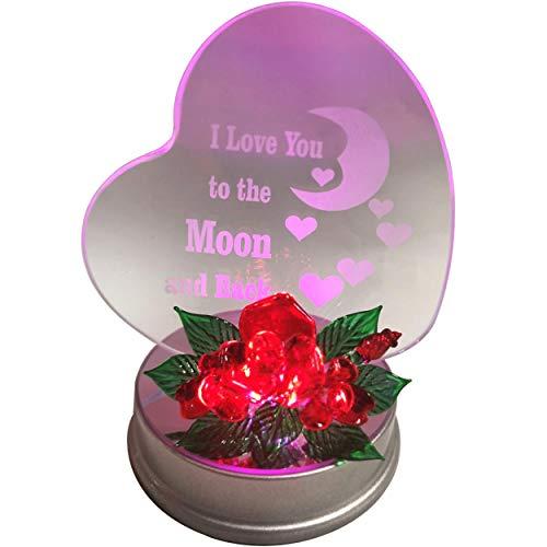 """Online Street Herzförmiges Hochzeitsgeschenk mit der Aufschrift """"Mom I Love You To The Moon And Back"""", mit farbwechselndem LED-Licht, mit Blumenverzierung, für Hochzeitsgeschenk, Großmutter, Freunde"""