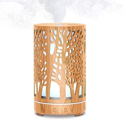 MEIDI diffusore di oli essenziali 200ml Umidificatore ad ultrasuoni con diffusore di aromi in legno,7 colori LED orientabili Vaporizzatore per Casa, ufficio, yoga
