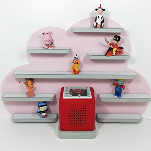 Tonie Regal, Wolke in rosa mit grauen, weißen oder natur Regalen, ideale Aufbewahrung für Tonie Box und Tonie Figuren, Kinderzimmer Regal, Deko Board, Musikboxaufbewahrung, Hängeregal