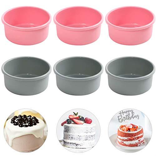 Silicone Cake Mold Baking Pan Round 4 Inch Non-Stick Bakeware Pan Reusable Cake Tray, Set of 6