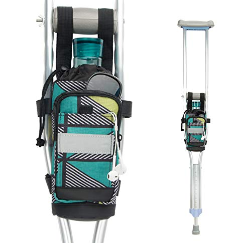 PACMAXI Crutch Bag Universal Crutch Accessories Bag Lightweight Crutch Pouch with Reflective Strap and Front Zippered Pocket for Crutch Carryon Pouch to Save Items (Geometric Triangle)