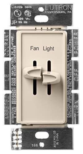 Lutron S2-LFSQ-LA Skylark 1.5-Amp Single Pole 3-Speed Combination Fan and Light Control, 300-watt, Light Almond