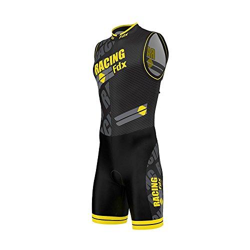 FDX, tuta da uomo per triathlon, imbottita e comprimente, con stampa a sublimazione, per corsa, nuoto, ciclismo, Yellow, S