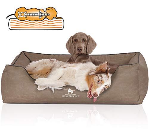 Knuffelwuff Orthopädisches Hundebett Rockland aus Kunstleder XXL 120 x 85cm Stone