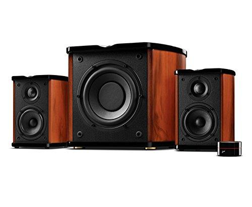 Swan Speakers - M50W - Powered 2.1 Bookshelf Speakers - HiFi Music Listening System - Wooden cabinet - Full Range Drivers - 6.5' Subwoofer - Desktop Near-field Use - 100W RMS