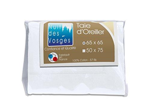 Nuit des Vosges 2094626 Cotoval Taie d'Oreiller Uni Coton Blanc 65 x 65 cm