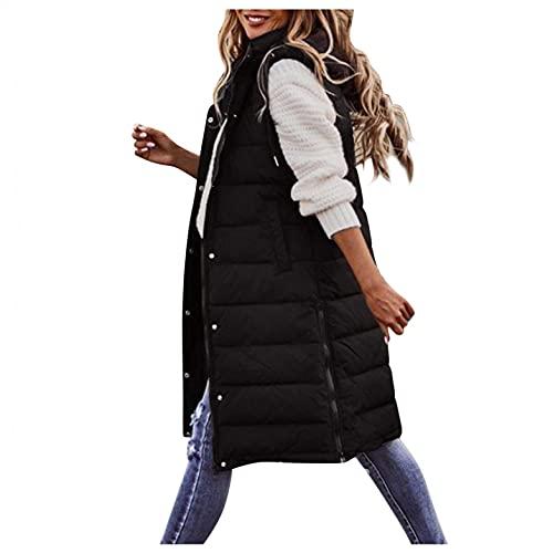 Chaleco de plumón para mujer chaqueta larga de invierno chaqueta de plumón chaqueta de chaleco cálido con capucha chaqueta acolchada abrigo de invierno abrigo de plumón informal chaleco delgado con bolsillos
