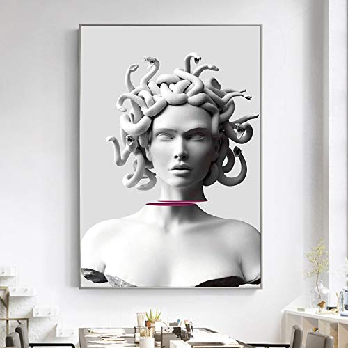 wZUN Scultura interessanti Poster e Stampe d'Arte Gorgone Statua Decorativa su Tela Dipinto sulla Pittura d'Arte sul Muro del Soggiorno 50X75CM