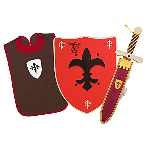 HERALDUM Espada y Escudo para Niños de Madera con Funda,Conjunto Caballero Medieval Templario.Accesorio Fiestas y Disfraces