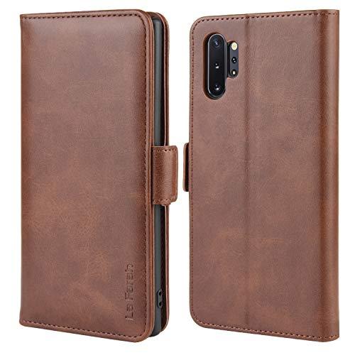 La Farah Handyhülle für Samsung Galaxy Note 10 Plus Hülle, PU Leder Flip Schutzhülle für Samsung Galaxy Note 10+ 5G Tasche,Vintage Braun