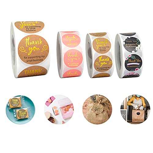 4 Rolls 2000 Pcs Thank You Stickers Small Business - 1 Roll 1.5 & 3 Rolls 1 Inch Thank You Stickers Labels, Decorative Sealing Stickers, for Envelopes, Bubble Mailers and Gift Bags Packaging, 500/Roll
