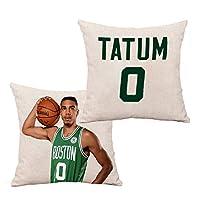 Jayson Tatum #0 枕バスケットボールスター記念ソファ背もたれベッドサイド枕カークッションアフタヌーンティークッションホリデーギフトを投げる (Color : White(D), Size : 45CM)