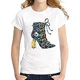 XIAOBAOZITXU Zapatos De Baile Impresos Camiseta De Mujer Casual De Gran Tamaño Estilo Casual Casual Estilo De Calle Camisetas De Manga Corta para Mujer M