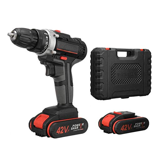 Multi Function Lithium Drill, 42V Impact Drill Household Rechargeable Hand Drill Pistol Drill Light Battery 2-Speed 25+1 Drill Bit JIAJIAFUDR