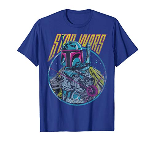 Star Wars Boba Fett Neon Blaster Vintage Graphic T-Shirt C1
