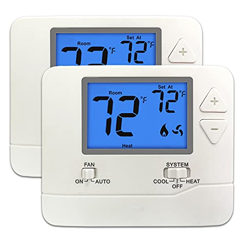 2PK - ELECTECK Digital Thermostat with Large LCD Display, Non-Programmable, Compatible with Single Stage Electrical and Gas/Oil System, Up to 1 Heat/1 Cool, White